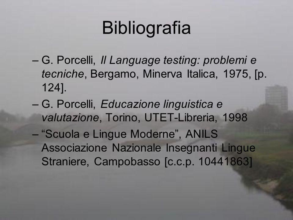 Bibliografia G. Porcelli, Il Language testing: problemi e tecniche, Bergamo, Minerva Italica, 1975, [p. 124].